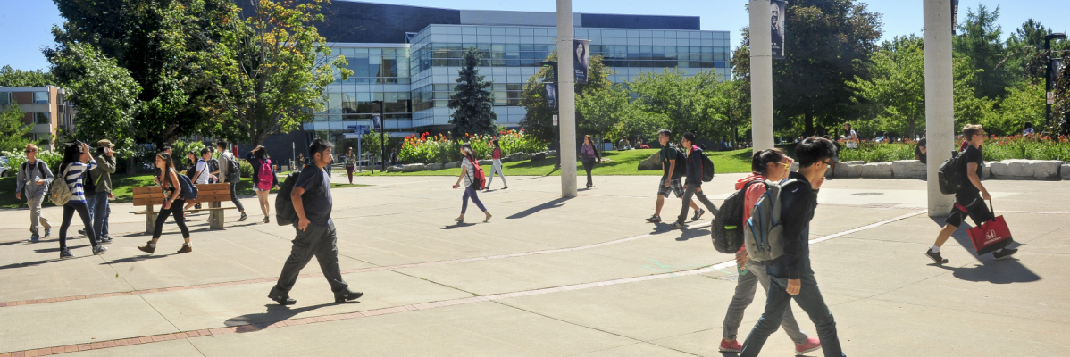 UTSC Campus with students walking to class