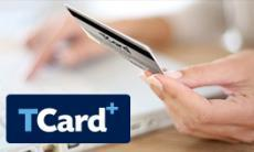 TCard Plus logo and a student holding a TCard in their hand