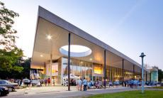 Exterior photo of the Student Centre at the University of Mississauga