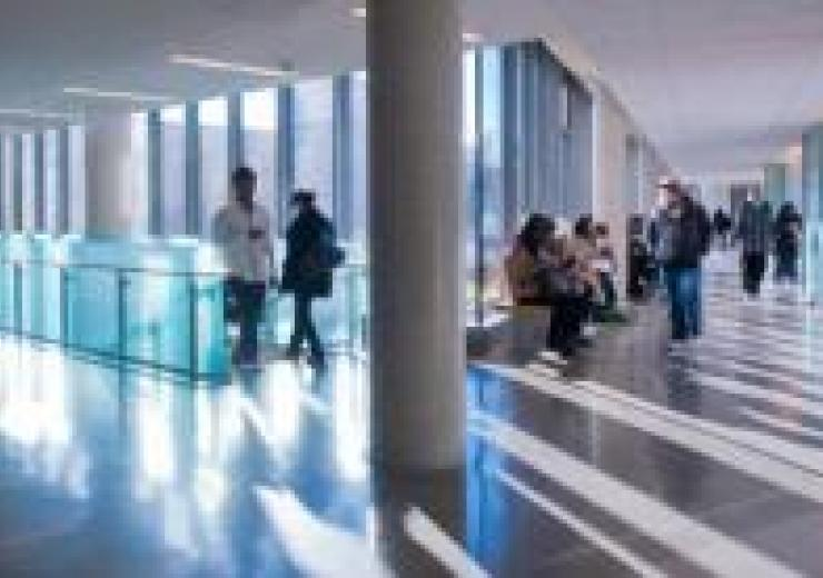 Students in AA building hallway