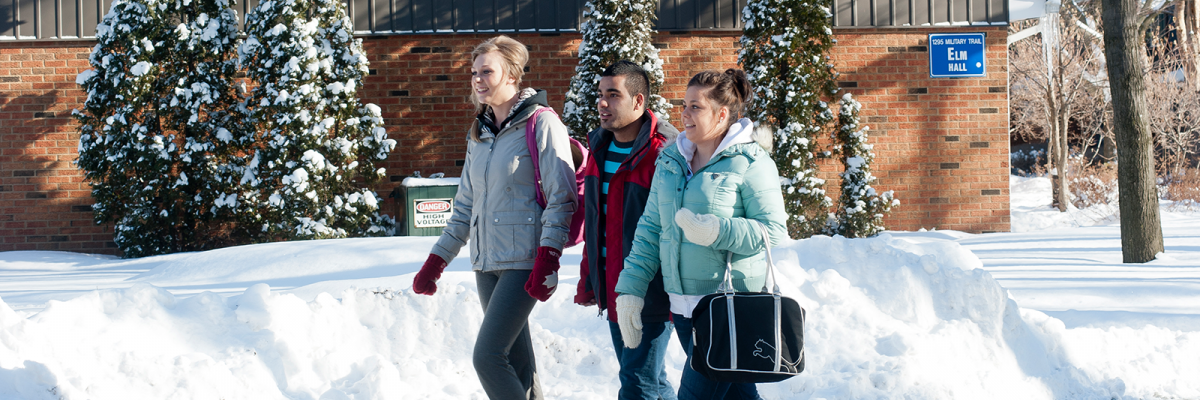 Three U of T Scarborough students walking to class during the winter
