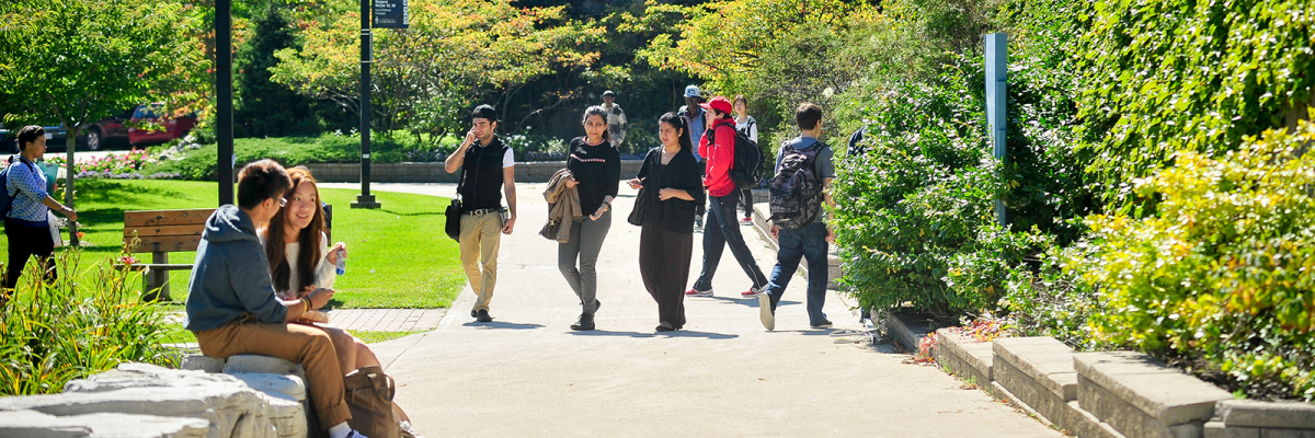 A group of students walking outside UTSC building