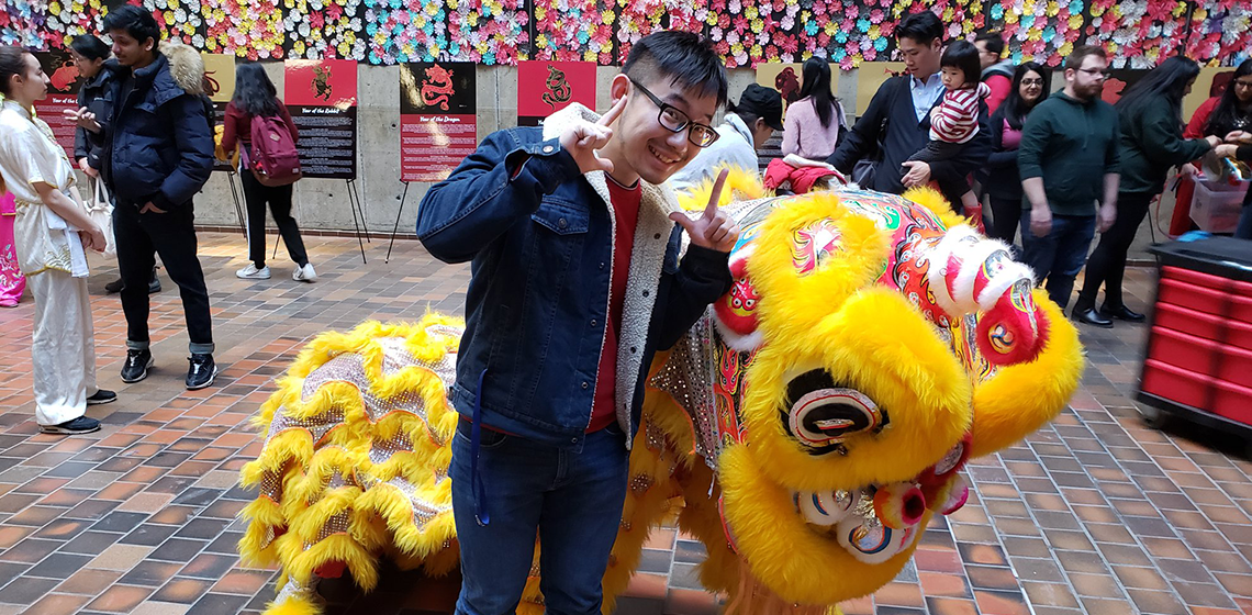 Student with dragon
