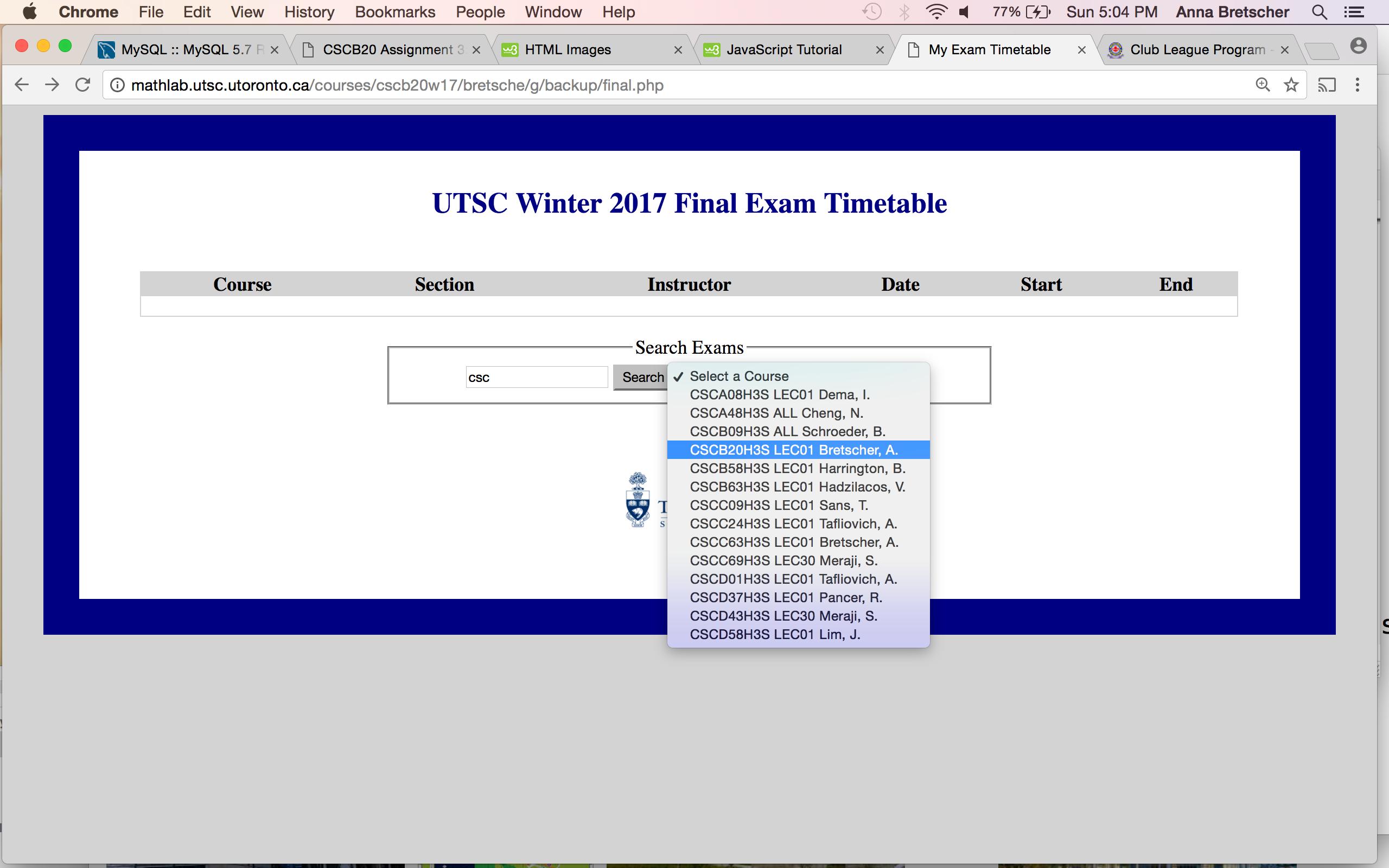 CSCB20 Assignment 3: Exam Timetable Website